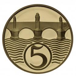 5 halier 1924 - zlatá replika
